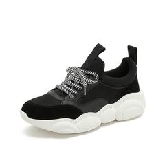 Teenmix/天美意2019春新款商场同款黑色纺织品/牛剖层革/牛皮革女休闲鞋AT561AM9
