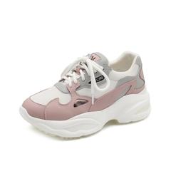 Teenmix/天美意2019春新款商场同款粉色牛剖层皮革/纺织品女老爹鞋休闲鞋AT941AM9