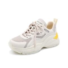 Teenmix/天美意2019春新款商场同款米色网面拼接厚底老爹鞋牛皮革女旅游鞋AT881AM9