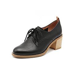 Teenmix/天美意2019春新款商场同款黑色高跟粗跟优?#25490;?#30382;革女皮鞋6U224AM9