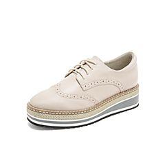 Teenmix/天美意2019春新款商场同款米白色布洛克松糕底牛皮革女皮鞋CFM24AM9