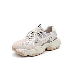 Teenmix/天美意2019春新款商场同款米色皮革拼接老爹鞋女旅游鞋AU161AM9
