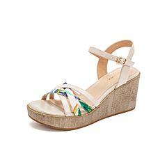 Teenmix/天美意2019?#30007;?#27454;米色羊皮革坡跟高跟女皮凉鞋CC418BL9
