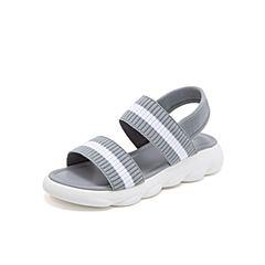 Teenmix/天美意2019?#30007;?#27454;灰色条纹休闲女凉鞋BT000BL9