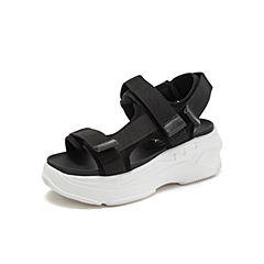 Teenmix/天美意2019?#30007;?#27454;黑色魔术贴厚底休闲女凉鞋BR000BL9