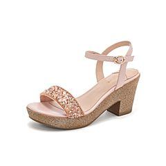 Teenmix/天美意2019?#30007;?#27454;商场同款粉色一字带粗跟女皮凉鞋6YB27BL9