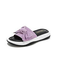 Teenmix/天美意2019?#30007;?#27454;商场同款紫色蝴蝶结厚底女皮凉拖鞋AU111BT9