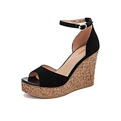 Teenmix/天美意2019?#30007;?#27454;商场同款黑色坡跟高跟鱼嘴女皮凉鞋CJ401BL9