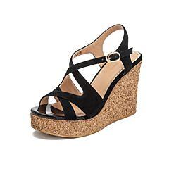 Teenmix/天美意2019?#30007;?#27454;商场同款黑色坡跟高跟女皮凉鞋CJ403BL9