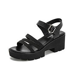 Teenmix/天美意2019?#30007;?#27454;商场同款黑色休闲高跟女皮凉鞋CJC03BL9