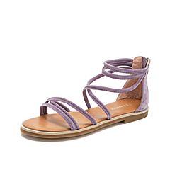 Teenmix/天美意2019?#30007;?#27454;商场同款紫色交叉带羊绒平跟女凉鞋AT971BL9