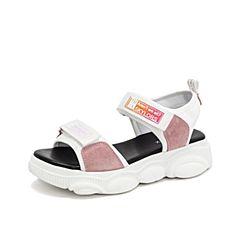 Teenmix/天美意2019?#30007;?#27454;商场同款白色厚底魔术贴沙滩鞋女皮凉鞋AT671BL9