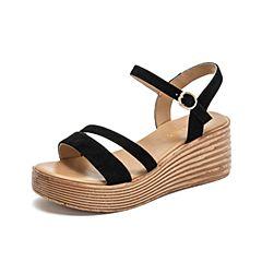 Teenmix/天美意2019?#30007;?#27454;商场同款黑色坡跟一字带女皮凉鞋AT701BL9
