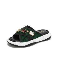 Teenmix/天美意2019?#30007;?#27454;商场同款绿色复古奢钻女凉鞋拖鞋AU211BT9