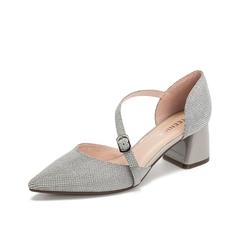 Teenmix/天美意2019春新款商场同款灰色尖头OL通勤中空女凉鞋AU231AK9