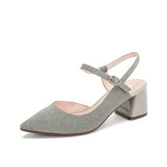 Teenmix/天美意2019春新款商场同款灰色格利特闪片女凉鞋AU221AH9