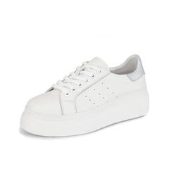 Teenmix/天美意2019春新款白/银色女皮休闲板鞋小白鞋BX004AM9