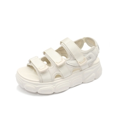 Teenmix/天美意2019夏新款商場同款米色厚底松糕魔術貼女涼鞋AU421BL9