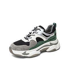 Teenmix/天美意2019秋新款商場同款綠色拼色休閑老爹鞋女旅游鞋AU871CM9