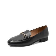 Teenmix/天美意2019秋新款商場同款黑色馬銜扣淺口樂福鞋女單鞋CO603CQ9