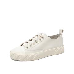 Teenmix/天美意2019秋新款商場同款米色牛皮革休閑板鞋鞋女平底休閑小白鞋CO820CM9