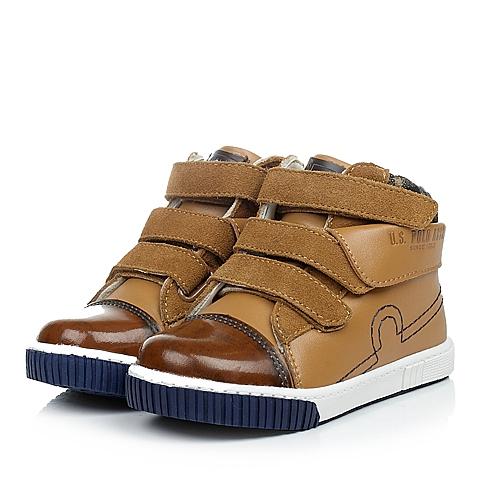 U.S.POLO ASSN./美国马球协会春秋季驼色牛皮男小童皮鞋满帮鞋L50127