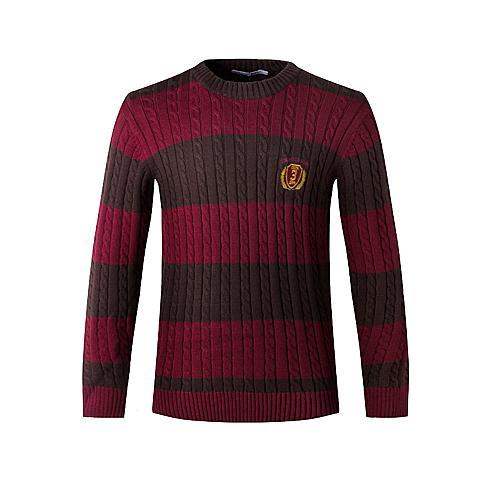 us polo 新品男士长袖羊毛衫条纹刺绣休闲衫圆领套头保暖针织衫 红色 U001HS