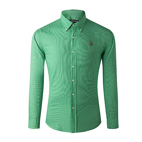 us polo 美国马球协会新款男装纯棉长袖衬衫纯色商务衬衫 绿色 U002LV