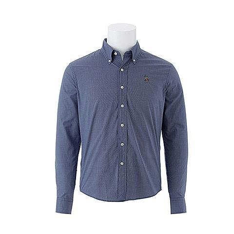 us polo 美国马球协会新款男装纯棉长袖衬衫纯色商务衬衫 深蓝 U002SL
