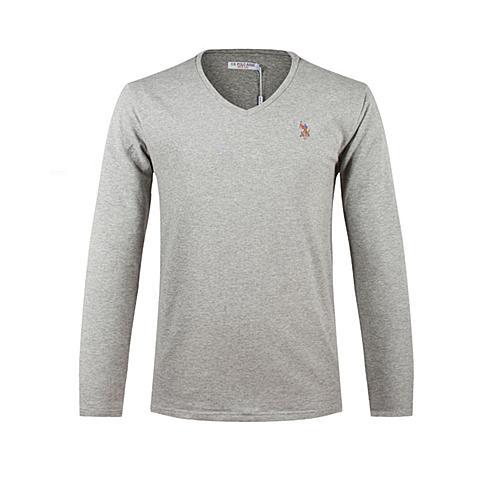 us polo美国马球协会 新品男士休闲T恤衫男士长袖纯棉T恤衫纯色T恤 灰色 U003HS