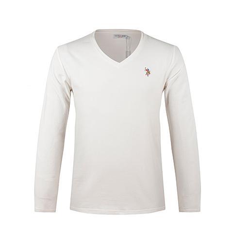 us polo美国马球协会 新品男士休闲T恤衫男士长袖纯棉T恤衫纯色T恤 白色 U003BS