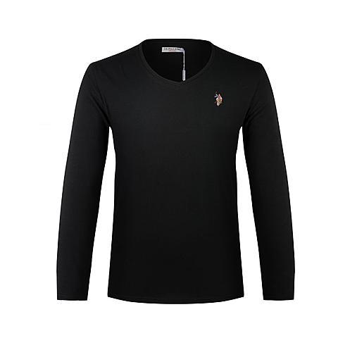 us polo美国马球协会 新品男士休闲T恤衫男士长袖纯棉T恤衫纯色T恤 黑色 U003HE