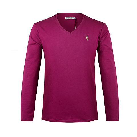 us polo美国马球协会 新品男士休闲T恤衫男士长袖纯棉T恤衫纯色T恤 紫红色 U003ZH