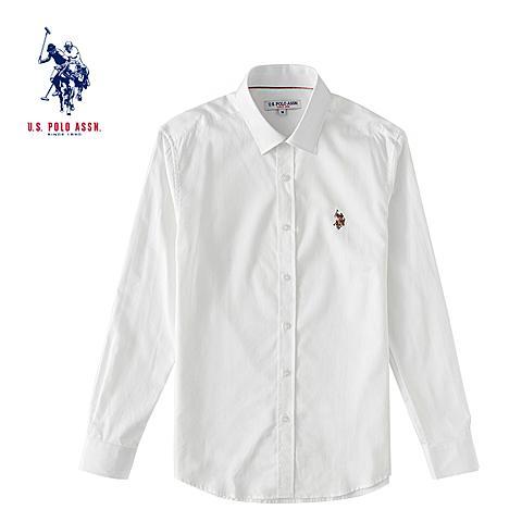 uspolo美国马球协会男士纯棉商务衬衫 男士白色商务正装衬衫 白色 U011BS