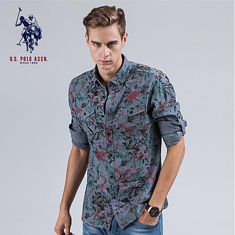 uspolo美国马球协会 男士潮流印花衬衫英伦风长袖衬衫花朵图案 深蓝印花 U007SL
