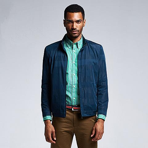 uspolo 新品商务休闲男士夹克薄款夹克立领男士单拉链潮流夹克外套男 深蓝色 U048SL