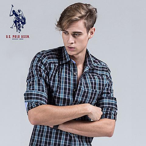uspolo 男士衬衫秋冬长袖格子衫英伦风纯棉衬衫 黑格子 U009HE