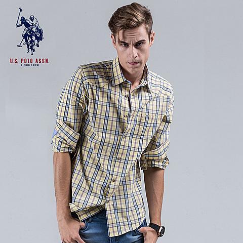 uspolo 男士衬衫新款长袖格子衫英伦风纯棉衬衫 黄格子 U009HG