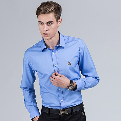 uspolo 美国马球协会商务休闲polo衬衫英伦风男士衬衫长袖纯色蓝色衬衫 蓝色 U041LS