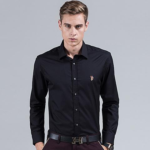uspolo 美国马球协会商务休闲polo衬衫英伦风男士衬衫长袖纯色蓝色衬衫 黑色 U041HS