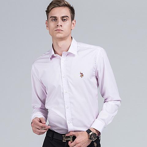 uspolo 美国马球协会商务休闲polo衬衫秋季英伦风男士衬衫长袖纯色蓝色衬衫 粉色 U041FS