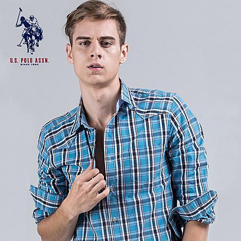 uspolo 男士衬衫新款长袖格子衫英伦风纯棉衬衫 湖蓝格 U009HL