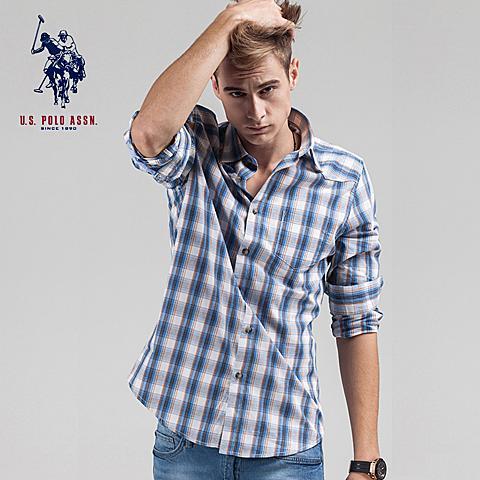 uspolo 男士衬衫新款长袖格子衫英伦风纯棉衬衫 浅蓝格 U009QL