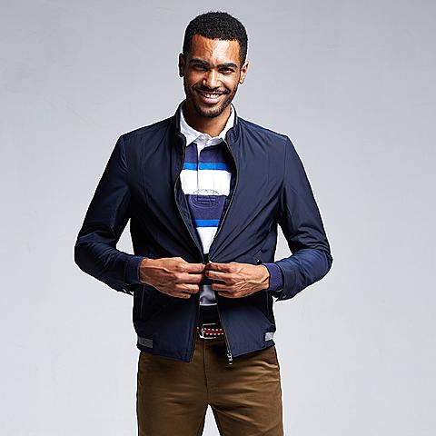 uspolo 美国马球协会男装时尚立领百搭薄款夹克单排链夹克 藏青色 U049ZQ
