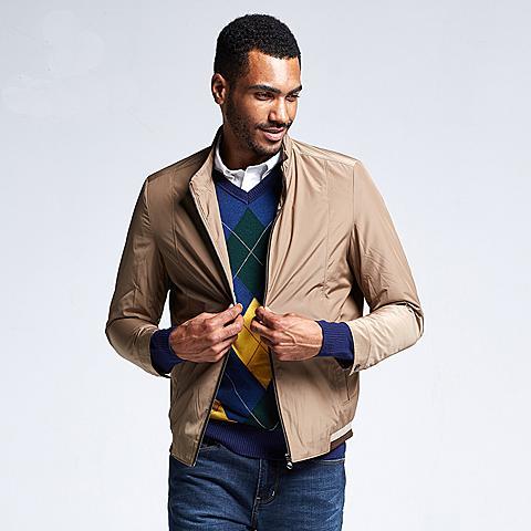 uspolo 美国马球协会男装时尚立领百搭薄款夹克单排链夹克 米色 U049MS