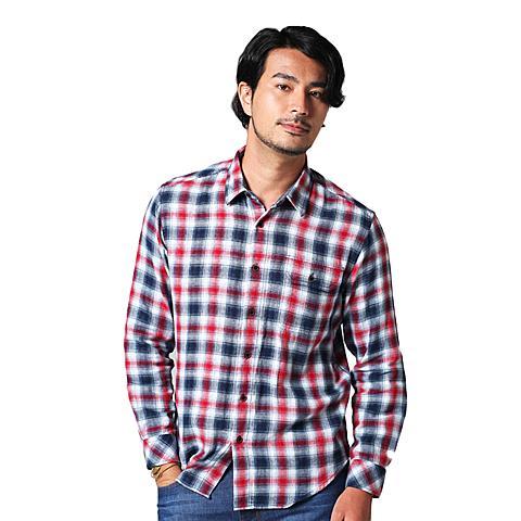 uspolo 美国马球协会新品男士衬衫男士舒适休闲格子衬衫 红色 U040HS