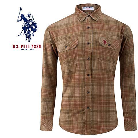 us polo美国马球协会男士衬衫品牌男士灯芯绒男士衬衫保暖衬衫 黄色 U010HS