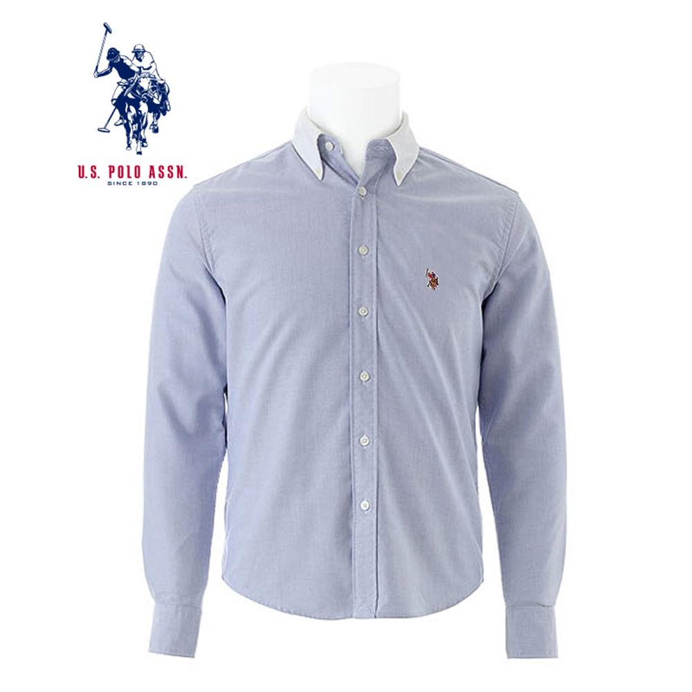 uspolo 美国马球协会秋季新品男士衬衫拼色长袖衬衫商务休闲衬衫保暖