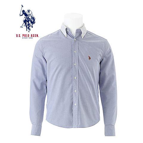 us polo 美国马球协会新品男士衬衫拼色长袖衬衫商务休闲衬衫保暖衬衫 兰色 U012LS