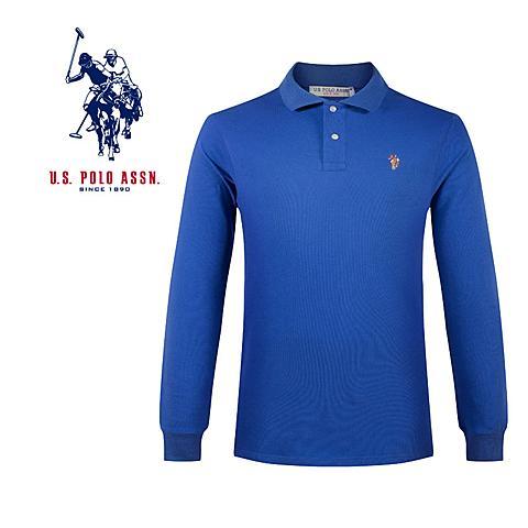 us polo 美国马球协会男士T恤衫商务休闲长袖男士polo衫polo经典款 宝蓝 U005BL